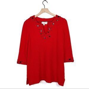 St John Red Embellished Wool Knit 1/2 Sleeve Top